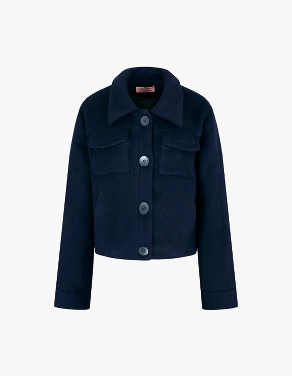 Margarin Fingers Flap Pocket Wool Coat - Navy | HEIGHTS. | International Store