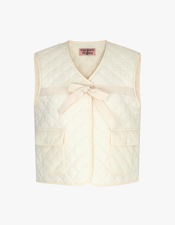 Margarin Fingers Ribbon Padding Vest - Cream | HEIGHTS. | International Store