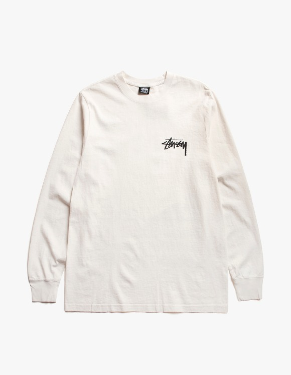 Stussy Spring Weeds Pig. Dyed L/S Tee - Natural | HEIGHTS. | International Store