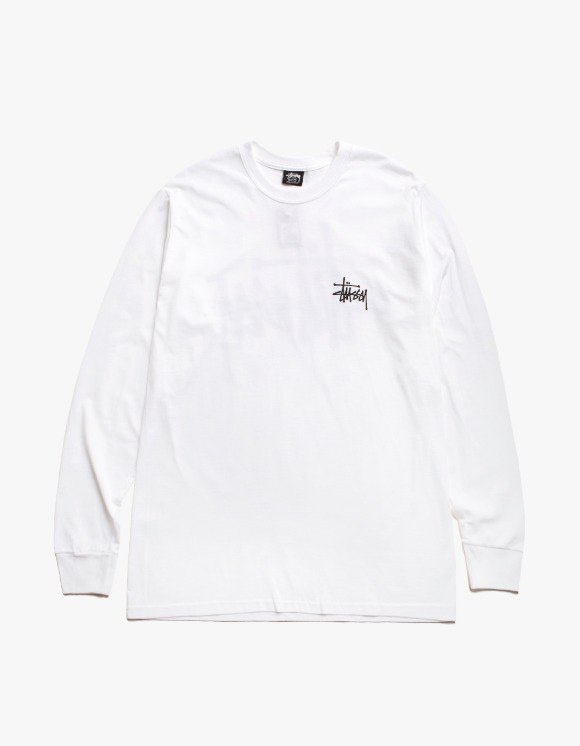 Stussy Basic Stussy L/S Tee - White | HEIGHTS. | International Store