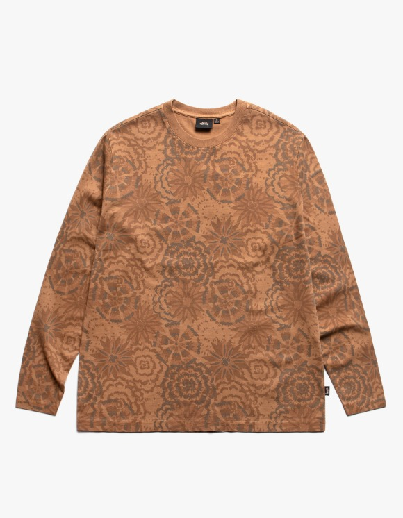 Stussy Flower L/S Crew - Brown | HEIGHTS. | International Store