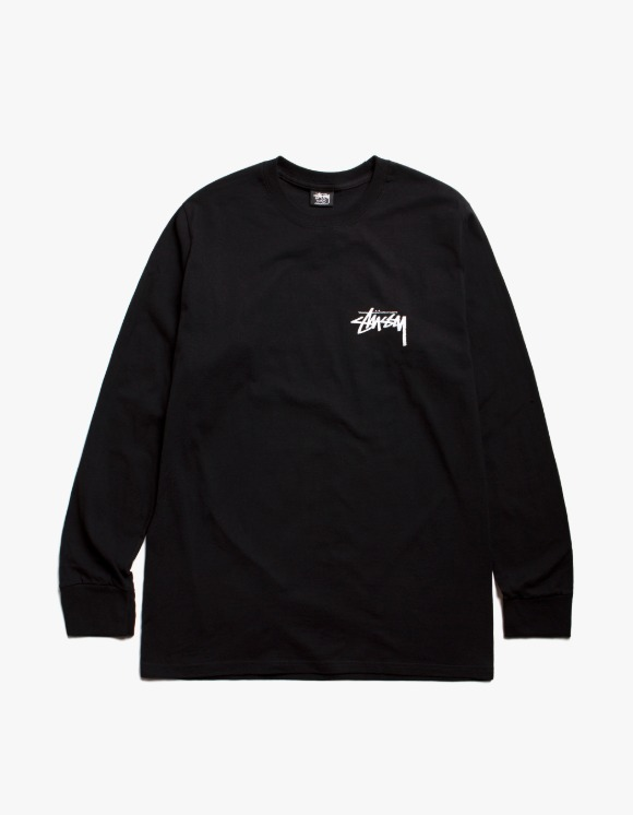 Stussy Spring Weeds Pig. Dyed L/S Tee - Black | HEIGHTS. | International Store