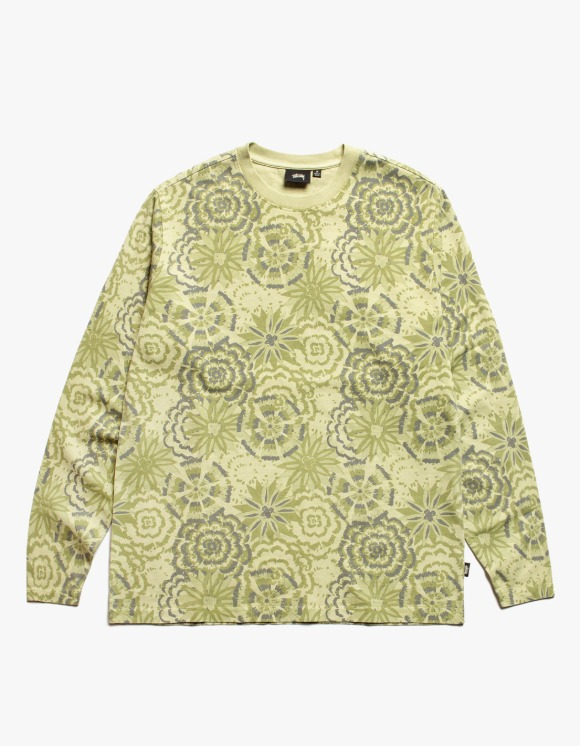 Stussy Flower L/S Crew - Lime | HEIGHTS. | International Store