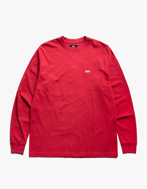 Stussy Stock Logo L/S Crew - Red | HEIGHTS. | International Store