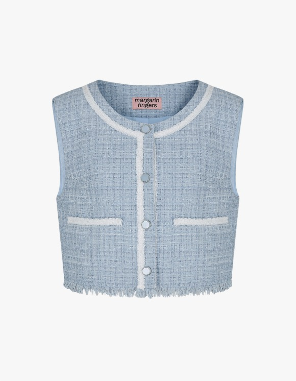 Margarin Fingers Lake Tweed Vest - Ice Blue | HEIGHTS. | International Store