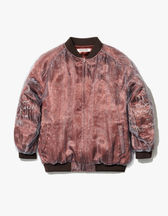 MISCHIEF Organza Layered Bomber Jacket - Red Brown | HEIGHTS. | International Store