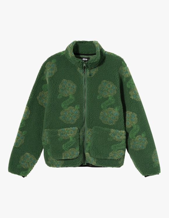 Stussy Flor Sherpa Mock Neck - Green | HEIGHTS. | International Store