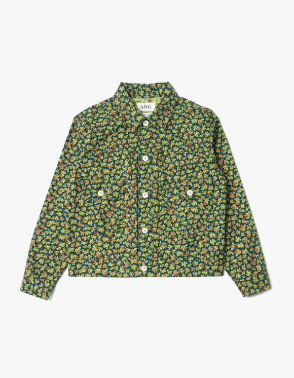 ANG Floral Linen Trucker Jacket - Green | HEIGHTS. | International Store