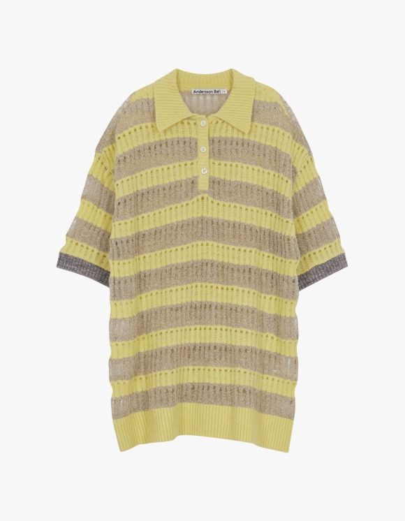 Andersson Bell Moana Bubble Knit Polo Top - Yellow | HEIGHTS. | International Store