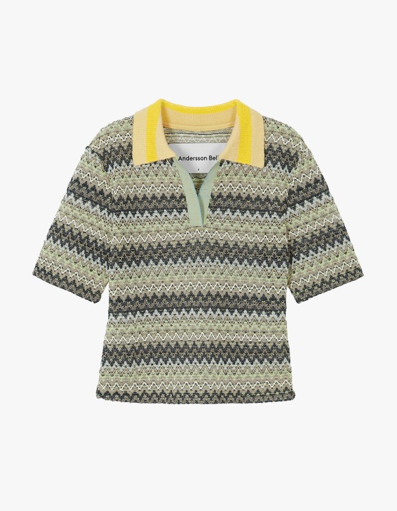 Andersson Bell Valencia Jacquard Polo Top - Multi Lemon | HEIGHTS. | International Store