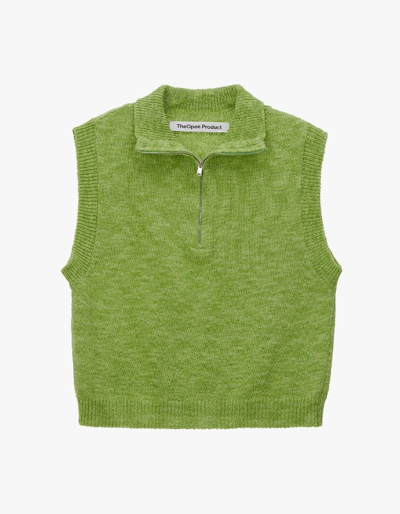 TheOpen Product Zip High Neck Knit Vest - Green | HEIGHTS. | International Store