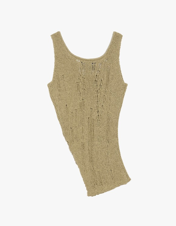 Andersson Bell Asymmetry Cut-Off Knit Top - Khaki | HEIGHTS. | International Store