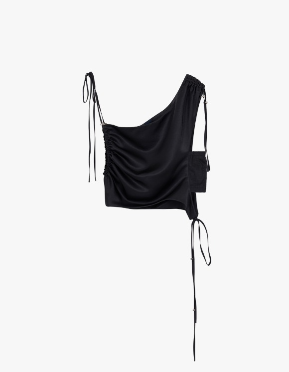 Andersson Bell [5월 31일 예약발송] Sofie Drape String Top - Black | HEIGHTS. | International Store