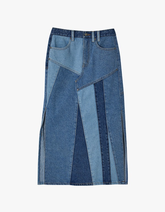 Andersson Bell Patchwork Long Slit Denim Skirt - Multi blue | HEIGHTS. | International Store