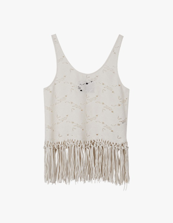 Andersson Bell Sage Faux Leather Fringe Punching Suede Top - Ivory | HEIGHTS. | International Store