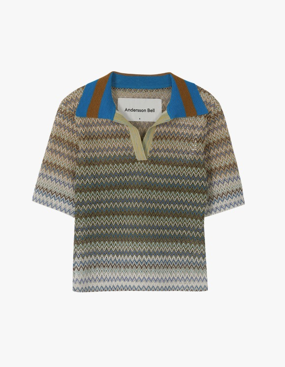 Andersson Bell Valencia Jacquard Polo Top - Multi Tan | HEIGHTS. | International Store