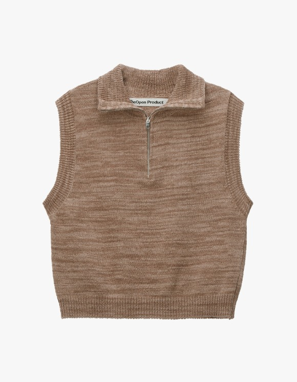 TheOpen Product Zip High Neck Knit Vest - Brown | HEIGHTS. | International Store