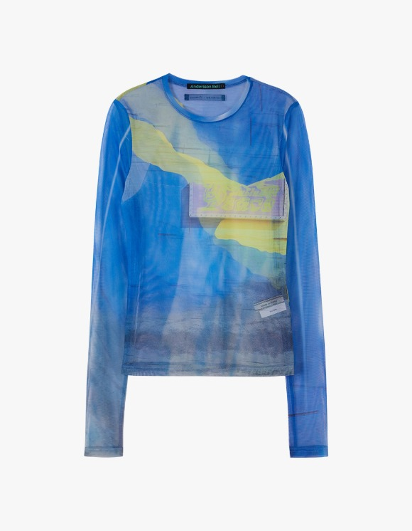 Andersson Bell Film Archive Stretch Mesh Top - Blue | HEIGHTS. | International Store