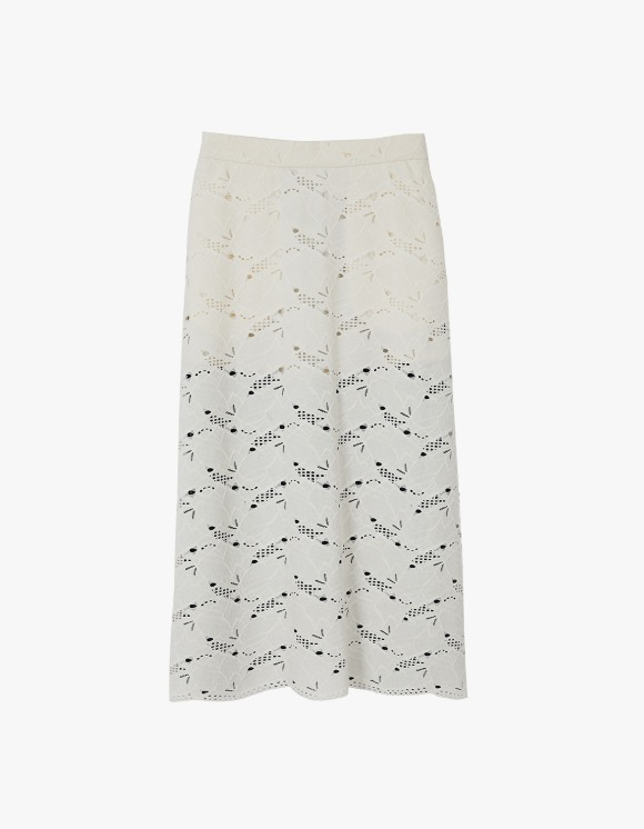 Andersson Bell Sage Contrast Punching Suede Skirt - Ivory/Navy | HEIGHTS. | International Store