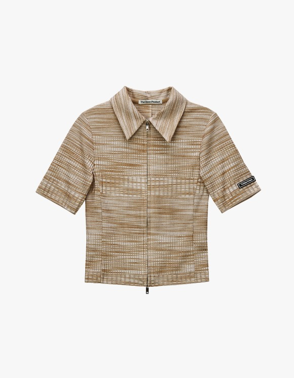 TheOpen Product Two Way Zip Fitted Shirt - Beige | HEIGHTS. | International Store