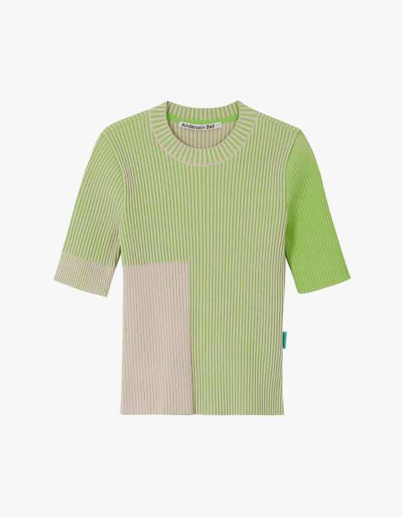 Andersson Bell Janis Two-Tone Short Sleeve Top - Pink x Green | HEIGHTS. | International Store