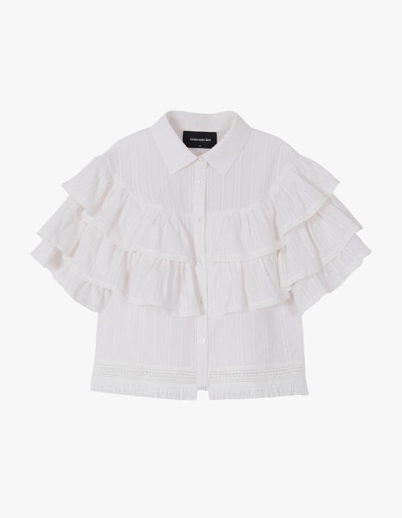 Andersson Bell Sasha Bohemian Ruffle Tiered Blouse - White | HEIGHTS. | International Store