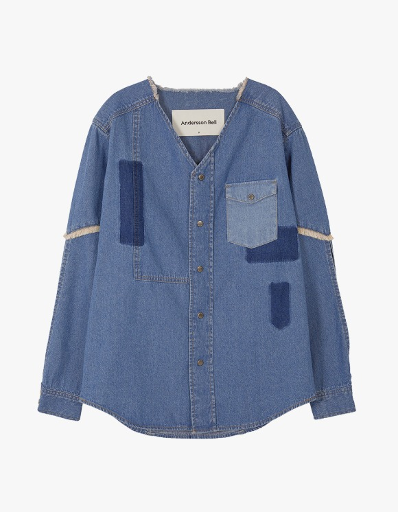 Andersson Bell Nicola Patch Collarless Denim Shirts - Blue | HEIGHTS. | International Store