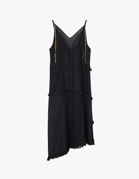 Andersson Bell Samanda Deep V-neck Asymmetric Tassle Dress - Black | HEIGHTS. | International Store